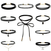 10 PCS/Set Black Velvet Choker Necklaces For Women Pendant Necklace