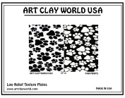 Art Clay Paw Prints Low Relief Texture Plate - 1 Pc.