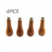 Lieomo 4Pcs Engraving Beading Jewellers Tools Narrow Long Pear Wood Graver Handles