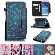 Galaxy S6 Case, Kickstand Card Slots Cash Holder Dual Layer Impact Resistant Case Cover with Wrist Strap Magnetic Snap Closure for Samsung Galaxy S6- Starry