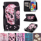 Galaxy S5 Case, Kickstand Flip [Card Slots] Wallet Cover Double Layer Bumper Shell with Magnetic Closure Strap Protective Case for Samsung Galaxy S5 / SV / S V / i9600- Skull