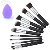 10+1 Pieces Makeup Brush Kit, Rbenxia Professional Wooden Handle Foundation Blending Blush Eye Face Liquid Powder Cream Cosmetics Brushes & 1 Piece Purple Beauty Sponge Blender