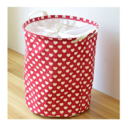 Saint Kaiko Large Capacity Cotton Laundry Hamper Foldable with Lid Laundry Basket Laundry Bin Round Storage Basket Toy Organiser for Nursery Toys Clothing