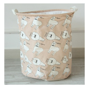 Saint Kaiko Cotton Linen Laundry Hamper Foldable with Lid Laundry Basket Laundry Bin Round Storage Basket Toy Organiser for Nursery Toys Clothing