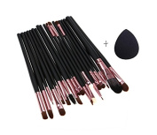 Robinson 20Pcs Black/Rose Gold Brushes Foundation/BB Cream/Powder/Eyeliner/Eyeshadow/Contour Makeup Brush Set With Sponge Puff