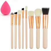 8+1 Pieces Makeup Brush Kit, Rbenxia Professional Wooden Handle Foundation Blending Blush Eye Face Liquid Powder Cream Cosmetics Brushes & 1 Piece Rose Red Beauty Sponge Blender