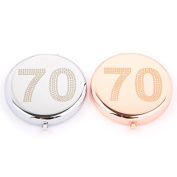 70th Birthday Compact Mirror in Silver or Rose Gold ...