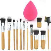 12+1 Pieces Makeup Brush Set, Rbenxia Professional Bamboo Handle Foundation Blending Blush Eye Face Liquid Powder Cream Cosmetics Brushes & 1 Piece Rose Red Beauty Sponge Blender