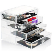 HBF Large Acrylic Make Up Organiser Drawers Exquisite Cosmetic Storage drawers (23.5*13*19 cm ) Full Length & Wide Space Jewellery & Makeup Storage Cases Holder Box