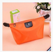Domire 1pc Women Dumpling Shape Nylon Waterproof Zipper Cosmetic Makeup Bag Handbag,Orange
