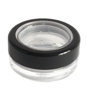 3mL THICK WALL Empty Small Plastic SIFTER JAR with Black Rimmed Lid for Cosmetic/Craft/Travel/Sample