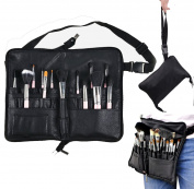 BestFire Professional Makeup Brush Bag Case Portable 22 Pockets Cosmetic Brush Holder Organiser with Artist Belt Strap PU Leather
