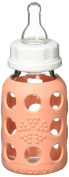 Lifefactory BPA-Free Glass Baby Bottle with Protective Silicone Sleeve and Stage 1 Nipple, Cantaloupe, 120ml