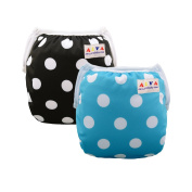 Alva Baby Swim Nappies 2pcs Pack One Size Reuseable & Adjustable 0-24 mo.Size 4.5-18kg SW14-16