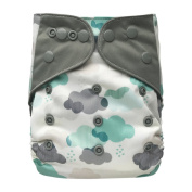 Pocket Cloth Nappy Stay-Dry Charcoal Bamboo, One Size 4.5-16kg