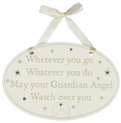 Oval Shaped Cream Resin Baby 'Guardian Angel' Plaque By Haysom Interiors