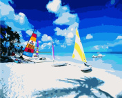 DIY Oil Painting for Adults Kids Paint By Number Kit Digital Oil Painting Beach 41cm X 50cm