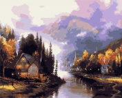 DIY Oil Painting for Adults Kids Paint By Number Kit Digital Oil Painting Small Town 41cm X 50cm