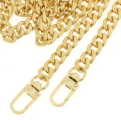 OPount 120cm Gold DIY Iron Flat Chain Strap Handbag Chains Purse/ Shoulder/ Cross Body Bag Replacement Metal Strap with 2 Pieces Metal Buckles