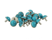 Happy E-life 20 PCS Beautiful DIY Buttons Turquoise Rapid Rivets Studs DIY Leather-Craft for Bag Shoes Bracelet Tandy Leather Blue