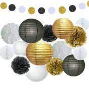 Fascola 16 Pcs Black Gold White Tissue Pom Poms Paper Flowers Paper Lanterns for Birthday Party Decoration