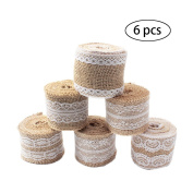 Purture 6Pcs Natural Burlap Lace Craft Ribbon Roll , 12 Yards DIY Handmade Crafts Lace Wedding Favour Decoration Shipping by FBA