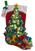 Bucilla 46cm Christmas Stocking Felt Appliqué Kit, 86710 Christmas Tree Surprise