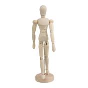 RDEXP 14cm Mini solid Wooden Unisex Art Human Manikin Mannequin Model