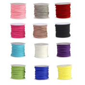 Bingcute 12 Rolls Different Colours 3mm Faux Leather Suede Beading Cords