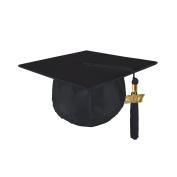 Kindergrad Shiny Kindergarten Graduation Mortar Board Cap and Matching 2017 Tassel - BLACK