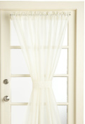 Lorraine Home Fashions Reverie Snow Voile Tailored Door Panels, 150cm by 180cm , Eggshell