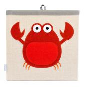 Grey Bee Animal Theme Canvas Storage Bin Hamper Box for Kids, Red- Crab