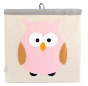 Grey Bee Animal Theme Canvas Storage Bin Hamper Box for Kids, Brown- Owl