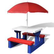 Anself Kids Picnic Garden Table Patio Table Bench Chairs Set with Umbrella