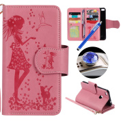 Huawei P8 Lite 2017 Leather Case,Huawei P8 Lite 2017 Wallet Case,Etsue[9 Card Slots]Pressed Girl Flower Cat Bird Pattern Retro Bookstyle Flip Case Cover with Strap Leather Wallet Case for Huawei P8 Lite 2017+Blue Stylus Pen+Bling Glitter Diamond Dust P ..