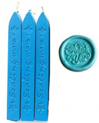 MNYR New 3pcs Sky Blue Wax Sticks with Wicks for Decorative Wedding Invitations Wax Seal Sealing Stamp Gift Cards Sealing Wax