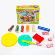 SZJJX Modelling Dough Japanese Sushi Set Playset Toys Deluxe Plasticine Mud with Bonding Clay and Moulds 5803-C