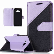 Galaxy J7 Case,Galaxy J7 Cover,ikasus Hit Colour Collision Premium PU Leather Fold Wallet Pouch Flip Stand Credit Card ID Holders Case Cover for Samsung Galaxy J7 SM-J700 (2015),Light Purple