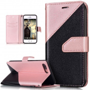 iPhone 7 Plus Case,iPhone 7 Plus Cover,ikasus Hit Colour Collision PU Leather Fold Wallet Pouch Case Premium Leather Wallet Flip Stand Credit Card ID Holders Case Cover for iPhone 7 Plus 14cm ,Rose Gold