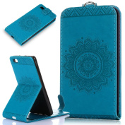 Huawei P8 Lite Case,Huawei P8 Lite Cover,ikasus Embossing Lace Floral Mandala Flower Premium PU Leather Fold Pouch Wallet Flip Stand Credit Card ID Holders Case Cover for Huawei P8 Lite,Blue