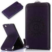 Huawei P8 Lite Case,Huawei P8 Lite Cover,ikasus Embossing Lace Floral Mandala Flower Premium PU Leather Fold Pouch Wallet Flip Stand Credit Card ID Holders Case Cover for Huawei P8 Lite,Purple