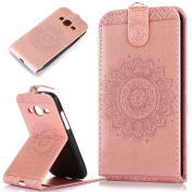 Galaxy Core Prime Case,Core Prime Cover,ikasus Embossing Lace Floral Mandala Flower Premium PU Leather Fold Pouch Wallet Flip Stand Credit Card ID Holders Case for Galaxy Core Prime G360F,Rose Gold