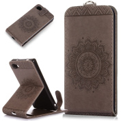 Sony Xperia Z5 Compact Case,ikasus Embossing Lace Floral Mandala Flower Premium PU Leather Fold Pouch Wallet Flip Stand Credit Card ID Holders Case Cover for Sony Xperia Z5 Compact,Grey