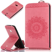 Microsoft Lumia 535 Case,Microsoft Lumia 535 Cover,ikasus Embossing Lace Floral Mandala Flower Premium PU Leather Fold Pouch Wallet Flip Stand Credit Card ID Holders Case for Microsoft Lumia 535,Pink