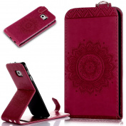 Galaxy S6 Edge Case,Galaxy S6 Edge Cover,ikasus Embossing Lace Floral Mandala Flower Premium PU Leather Fold Pouch Wallet Flip Stand Credit Card ID Holders Case for Samsung Galaxy S6 Edge,Hot Pink