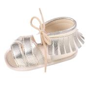 Sikye Newborn Girls Boys Crib Shoes Soft Sole Anti-slip Baby Sneakers Fringe Lace-Up Sandals
