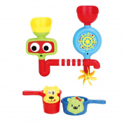 deAO Fun Bath Toys – Colourful Splashy Pipes for Babies and Toddlers Bath Time Includes 2 Jugs