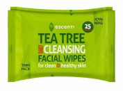 THREE PACKS of Escenti Tea Tree Daily Cleansing Facial Wipes 25 Wipes Twin Pack