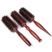 Healthcom 3 in 1 Premium Boar Bristle Brush Natural Boar Bristle Round Styling Hair Brush Anti Static Hair Drying Styling Curling Hair Brush