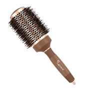 SUPRENT Nano Thermal Ceramic & Ionic Round Barrel Hair Brush with Boar Bristle, 5.1cm , for Hair Drying, Styling, Curling, Adding Hair Volume and Shine, Nostalgic Gold Colour